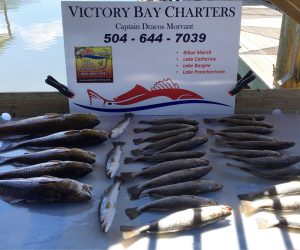 Victory Bay Charters catch of the day laying in front of sign