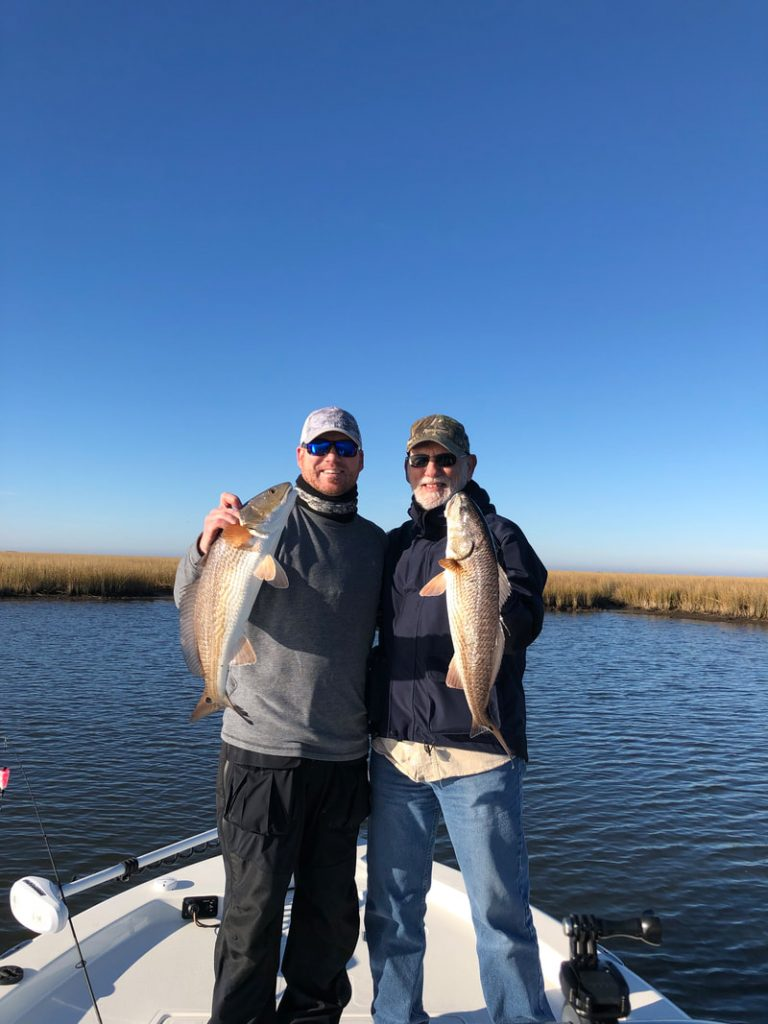 Father Son starting their fishing charter off on the right foot