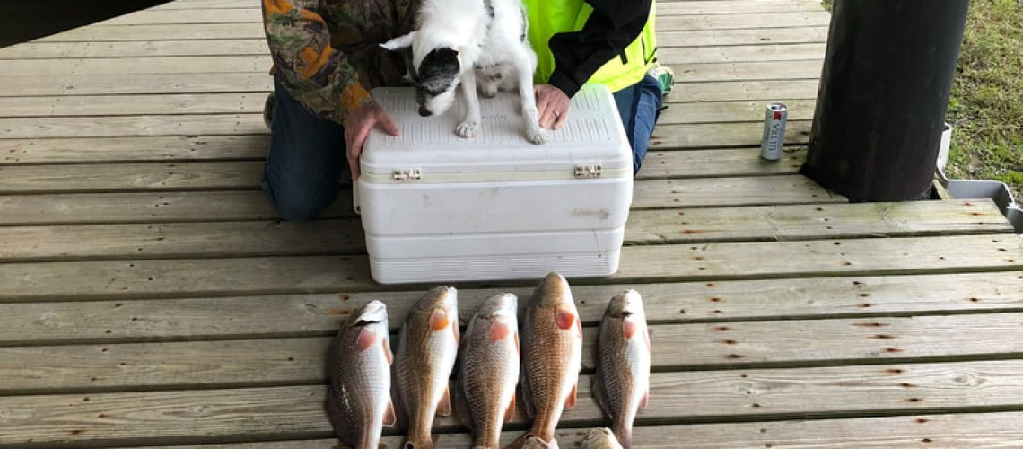 couple with their dog posing with the catch of the day